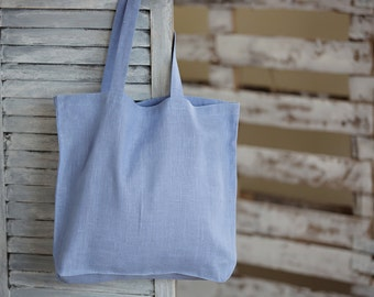 Lavender Linen Tote Bag - Canvas Bag - Linen Bag - Big Market Bag