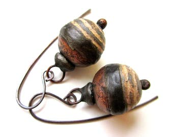 Doggerel - primitive modern artifact slate gray cream stripe ceramic art bead, hollow textured copper, soldered black metal bauble earrings