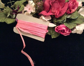 Vintage Narrow Dark Pink  Rose Rayon Lingerie Ribbon, Vintage Sewing Supplies, Vintage Doll Supplies