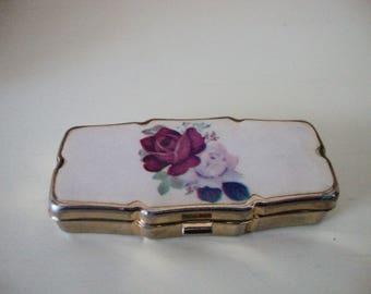 Pill Box Three Sections Vintage Prescription Box Roses