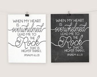 Lead Me To The Rock - Psalm 61 2  - Printable Wall Decor - Scripture Printable -Chalkboard Printable -Encouraging Words -Christian Printable