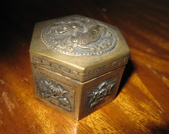 Small  Metal Box Chinese Dragon Silver and Gold Tone