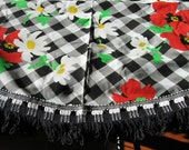 Black and White Checkered Tablecloth with Red Flowers Morgan Jones NIP