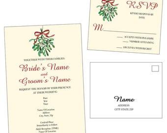 Customizable Mistletoe Wedding Invitation & RSVP Post Card - [Digital File ONLY]