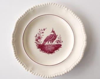 "Copeland Spode, ""Gadroon, Mulberry Bird & Verge"", red transferware plate, English transferware plate 9 1/4"""