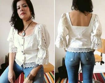 Sweet 1990s White Thick Cotton Knitted Fish / Puff Sleeves Button Blouse XLarge