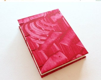 ON SALE Handmade Journal - Red Paste Paper