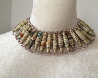 African Paper Bead Choker Necklace