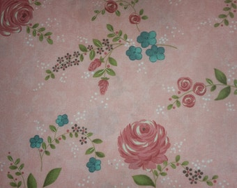 Rambling Rose  by Sands Gervais for moda pink and turquoise flowers on pink main print
