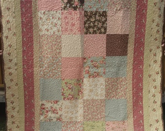 Twin to full Quilt pieced with, beautiful Roses and chocolate by Sentimental studios for Moda fabrics soft pastel flowers and designs