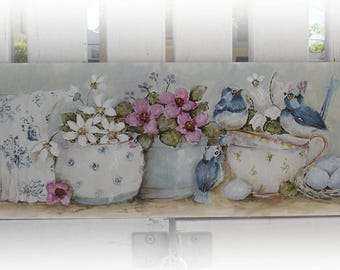 Original Shabby Style Tea Cuppainting with Roses and Bluebirds on Board