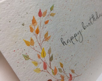 OOAK Fall Leaves Happy Birthday Greeting Card