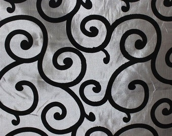 "Black Flocking Swirl on Grey Taffeta fabric per yard 60"" wide tablecloth runner dress"