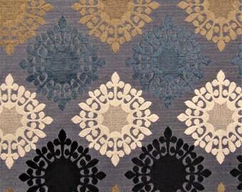 Retro Blues Starburst Retro Vintage Mod Sofa Upholstery Fabric Chenille Drapery Curtains