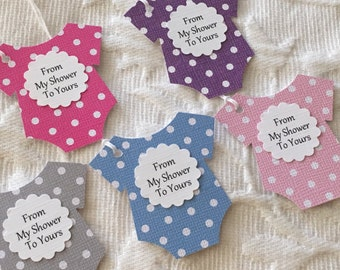 From My Shower To Yours Baby Tags - Polka Dot Baby Favor Gift Tags - Baby Bodysuit Favor Tags