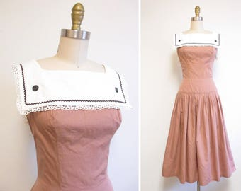 Vintage 1950s Sundress | Fawn Brown Cotton with Bib Collar 1950s Dress | size medium | 5D017