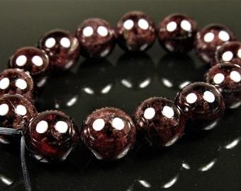 Dark Wine Red Garnet Round Bead  - 9mm - 14 beads - B6171