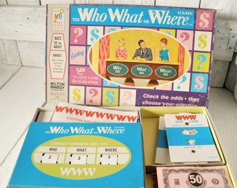 Vintage Who What or Where Game game quiz show NBC television 1970 Milton Bradley