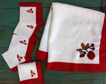 Captivating Red Cherries Linen Luncheon Set, Vintage Linens, Vintage Table, Tablecloth,  Napkin Set