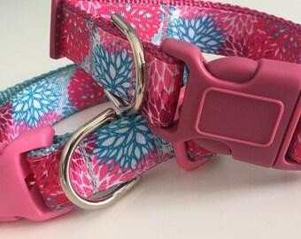 Pink & Aqua Dahlia Adjustable Dog Collar