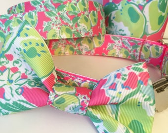 Pink Lemonade Lilly Pulitzer Inspired Pet Collar