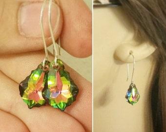Dark Rainbow Crystal Teardrop Earrings - Peacock Swarovski Crystal and Sterling Silver Dangle Earrings - Baroque Crystals - Art Deco Style