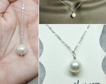 White Pearl Necklace Sterling Silver - Fresh Water Pearl - Genuine Natural Pearl - Classic Pearl Necklace