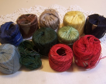 Vintage Collection of Darning or Mending Cotton Thread for Socks, Lot of 11 (small spools)