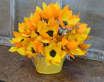 Sunflower Mini Bouquet - Hand painted bucket filled with Sunflowers - 8 inches x 8 inches - Gifts, weddings, parties