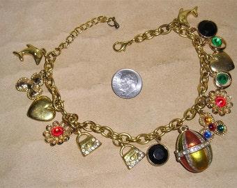 Vintage Charm Bracelet With Rhinestones Egg Hearts Purse 1980's Jewelry 3039