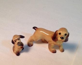 Cocker Spaniel Miniature Porcelain Hagen-Renaker Mama and Pup Disney Lady & The Tramp