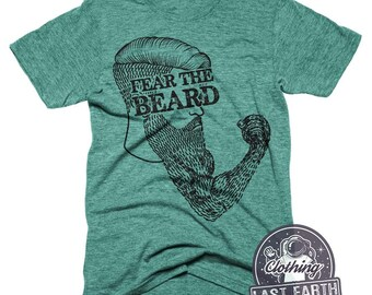 Fear The Beard T-Shirt Bearded Fist Shirt Mens Beard Shirt Funny Beard Tees Vintage Tee Shirt Punch Shirt Lumberjack T-Shirt Gifts For Him