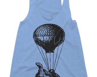 Flying Turtle Tank Top Hot Air Balloon Tank Cute Turtle Shirt Womens Tank Mens Tank Racerback Tanktop Workout Tank Running Tank Funny Shirt