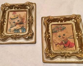 Pair of cute vintage kitten portraits