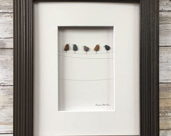 Pebble Art birds on a wire 8 by 10 PebbleArt by Sharon Nowlan choice of framed or unframed