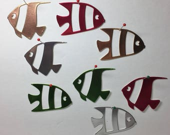 "Set of 8 Foil Poster-board Fish, 2 sizes, 4 colors, approximately 1""x2"""