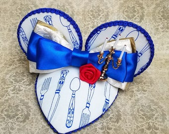 Be Our Guest Blue and Gold Mouse Ear FascinEar Fascinator