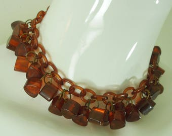 1930s Art Deco Tea Root Beer Amber Bakelite and Celluloid Necklace Charms Drops Choker