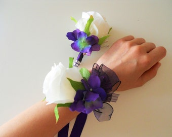 Ivory Roses, Purple hydrangea Wrist Corsages with Rhinestone Accent and Matching Bout