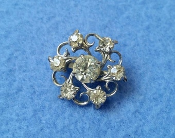 Vintage Rhinestone Swirl Brooch Pin, small delicate costume jewelry