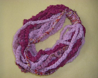 Recycled Sari Silk Infinity Scarf Necklace, fair trade, shades of pink chiffon with embroidery and floral patterns, saree silk art yarn