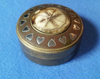 Vintage Brass Trinket Box with carved bone or horn inlay and silver hearts, made in India, ring box gift box