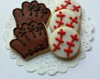 Mini Baseball and Baseball Mitt Cookies - 3 Dozen Mini Cookies