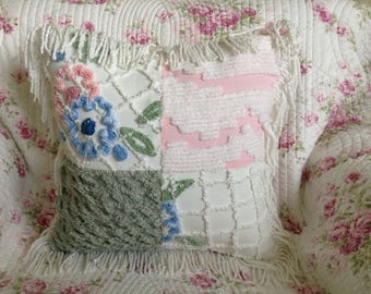 Decorative Throw Pillow Vintage Chenille Bedspread Farmhouse Shabby Chic Shuggie's Attic