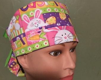 Easter ponytail scrub cap
