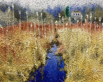 "Original Impressionist style Impasto oil painting by Michigan artist 11x14 ""Blue Ribbon"""