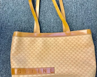 Vintage Celine Macadam Coated Canvas and Leather Tote Bag