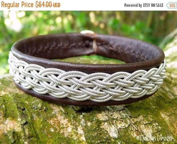Viking Braid Sami Bracelet Cuff DVALIN Custom Handmade in Antique Brown Reindeer Leather, Spun Pewter Thread and Antler Closure