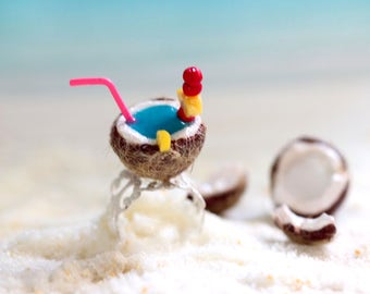 Tropical Drink Ring-Coconut Drink Ring-Miniature Coconut-Tropical Coconut Jewelry-Summer Jewelry-Food Ring-Mini Food Jewelry-Gift For Her