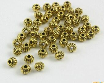 50Pcs Antique Gold Pumpkin Bead Spacer Pumpkin Bead For Jewerly 5x4mm (PND1467)